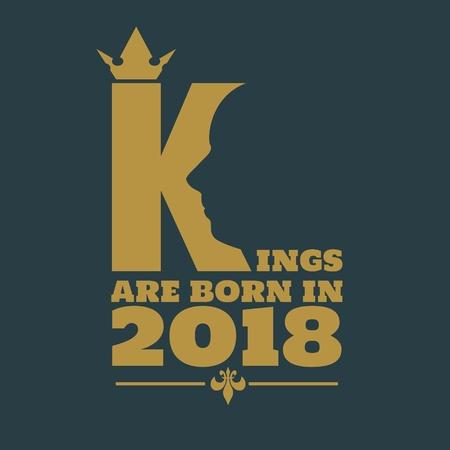 Ilustración de Vintage medieval royal crown silhouette. Medieval king profile. Kings are born in january text. Motivation quote vector. - Imagen libre de derechos