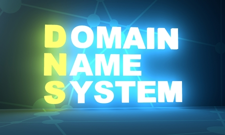 Photo for Acronym DNS - Domain Name System. Internet conceptual image. 3D rendering. Neon bulb illumination - Royalty Free Image