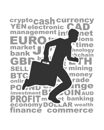 Illustration pour Businessman running with briefcase. Abstract illustration. Modern lifestyle metaphor. Word collage relative to trading. - image libre de droit