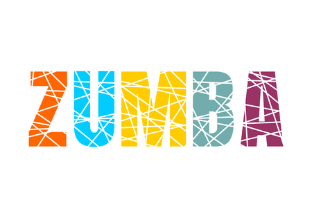 Illustration pour Lettering Zumba dance studio. Multicolor sliced word - image libre de droit