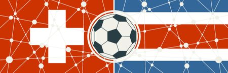 Illustration pour Flags of countries participating to the football tournament. Switzerland and Costa Rica national flags. Soccer ball in the center. Connected lines with dots - image libre de droit