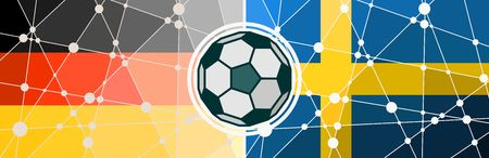 Illustration pour Flags of countries participating to the football tournament. Germany and Sweden national flags. Soccer ball in the center. Connected lines with dots - image libre de droit