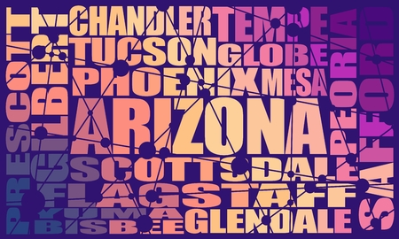 Illustration pour Image relative to usa travel. Arizona state cities list - image libre de droit