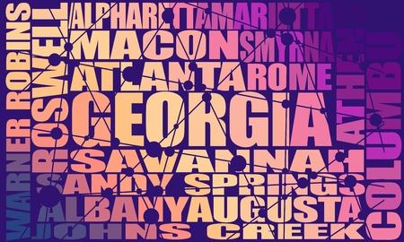 Illustration pour Image relative to usa travel. Georgia state cities list - image libre de droit