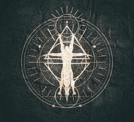 Foto de Mystery, witchcraft, occult and alchemy tattoo sign. Mystical vintage gothic geometry thin lines symbol with silhouette of a muscular man - Imagen libre de derechos