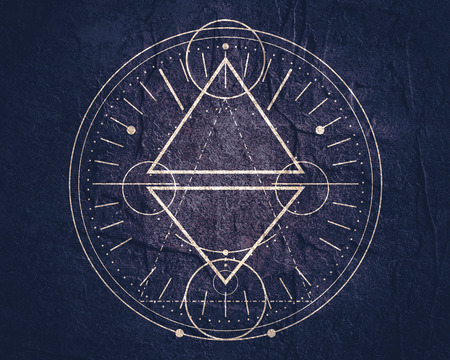 Foto de Mystical geometry symbol. Linear alchemy, occult, philosophical sign. For music album cover, poster, sacramental design. Astrology and religion concept. - Imagen libre de derechos