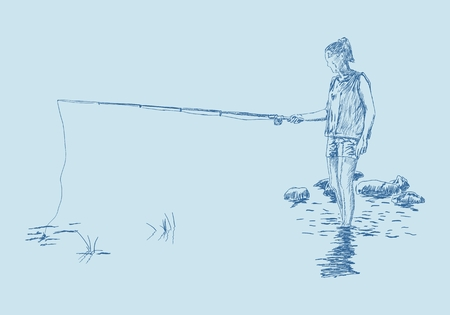 Ilustración de Young fishing woman on the river bank in the water resting on the nature. Hand drawn illustration - Imagen libre de derechos