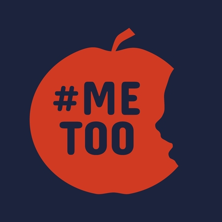 Ilustración de Me too hashtag. Social movement concerning sexual assault and harassment. An apple with face profile view. Optical illusion. Human head make silhouette of fruit. Half eaten apple - Imagen libre de derechos