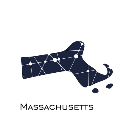 Illustration pour Image relative to USA travel. Massachusetts state map textured by lines and dots pattern - image libre de droit
