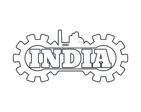 Illustration pour India word build in gear. Heavy industry relative image - image libre de droit