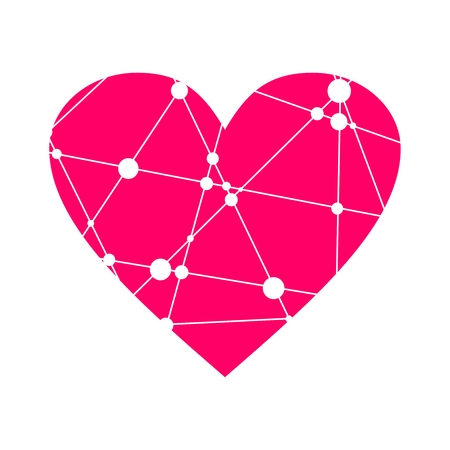 Illustration pour Medical, technology, chemistry and science icon design template. Heart shape decorated by molecule and communication pattern. Connected lines with dots. - image libre de droit
