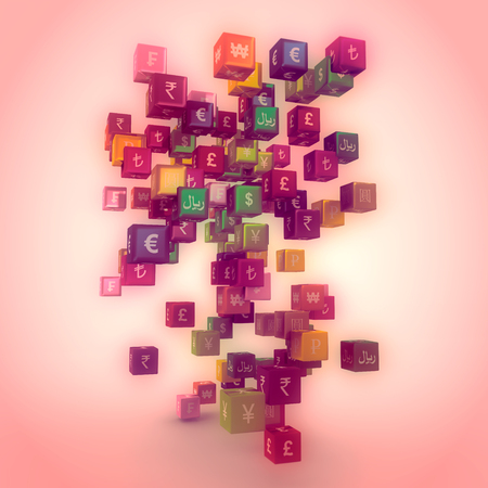 Photo for Currency symbols on vibrant multicolored plastic reflective cubes. Business concept. 3D rendering - Royalty Free Image