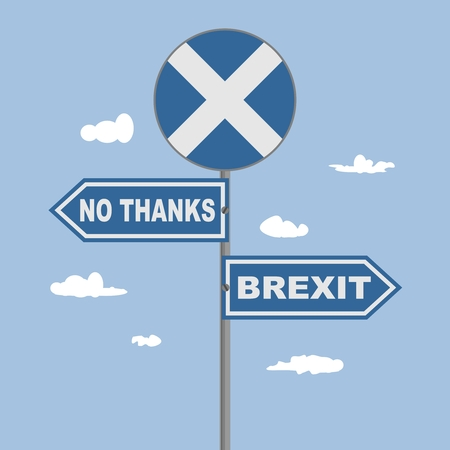 Photo pour Image relative to politic situation between Great Britain and Scotland. Politic process named as brexit. National flag on road sign. No thanks and Brexit text - image libre de droit