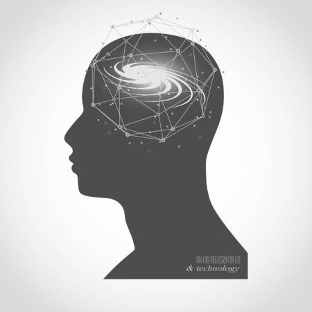 Illustration pour Silhouette of a man head. Mental health relative brochure, report design. Scientific medical designs. Galaxy as brains. Connected lines with dots. - image libre de droit
