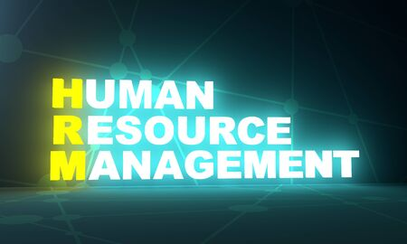 Photo for Illustration of business acronym term HRM - Human Resource Management. 3D rendering. Neon bulb illumination - Royalty Free Image