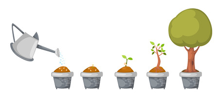 Illustration pour illustration of watering can with tree life cycle vector - image libre de droit