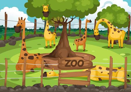 Illustration pour illustration of a zoo and giraffe vector - image libre de droit