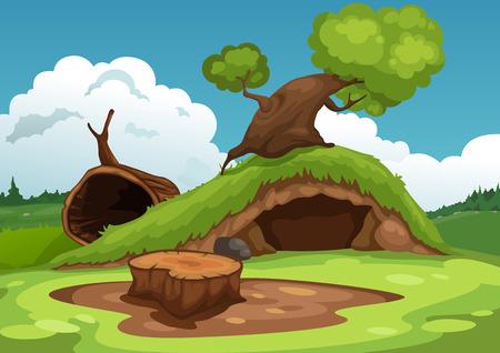 Illustration pour Illustration of beautiful landscape background vector - image libre de droit