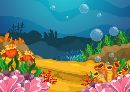 Illustration pour Illustration of under the sea background vector - image libre de droit