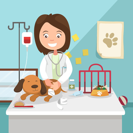 Illustration pour The idea of female veterinarian curing illustration, vector - image libre de droit