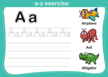 Ilustración de Alphabet a-z exercise with cartoon vocabulary illustration, vector - Imagen libre de derechos