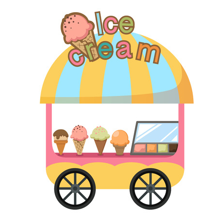 Illustration pour cart stall and a ice cream vector illustration on white background - image libre de droit