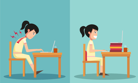 Illustrazione per Illustration of isolated the sample of the guy sitting in wrong and right ways - Immagini Royalty Free