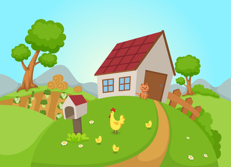 Illustration pour illustration of rural landscape vector - image libre de droit