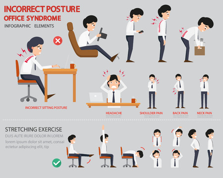 Ilustración de Incorrect posture and office syndrome infographic,vector illustration - Imagen libre de derechos