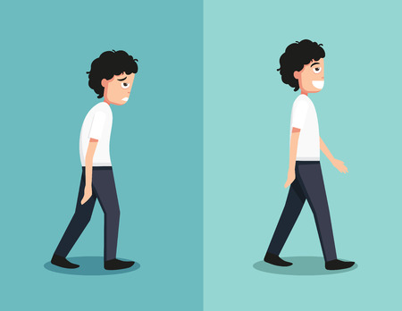 Illustration pour Best and worst positions for walk, illustration, vector - image libre de droit