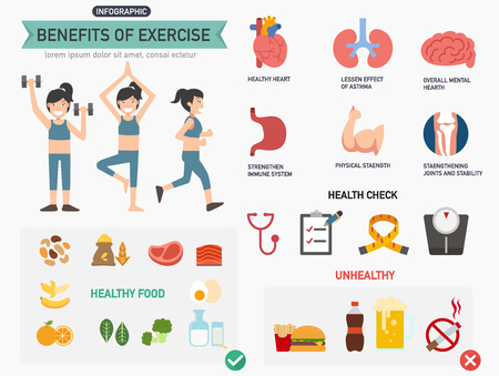 Ilustración de Benefits of exercise infographics.vector illustration. - Imagen libre de derechos