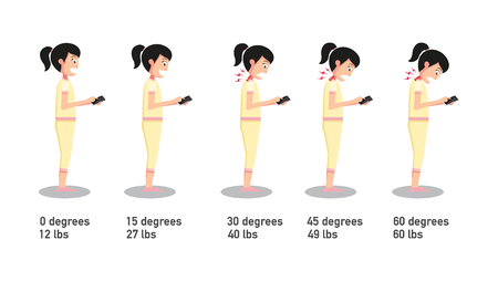 Illustrazione per The bad smartphone postures,the angle of bending head related to the pressure on the spine.vector illustration. - Immagini Royalty Free