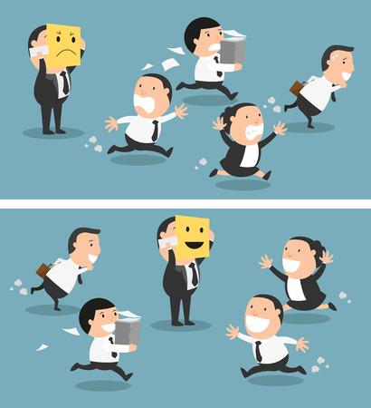 Ilustración de Boss changing his mood from bad to good,vector illustration - Imagen libre de derechos