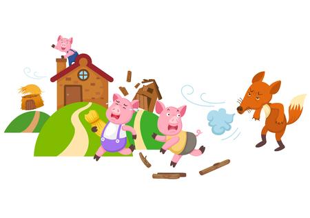 Illustrazione per Illustration of isolated fairy tale three little pigs vector. - Immagini Royalty Free