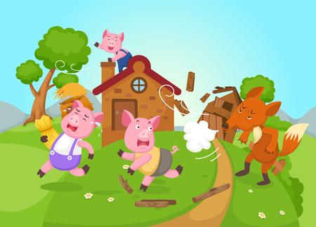 Illustrazione per illustration of isolated fairy tale three little pigs vector - Immagini Royalty Free