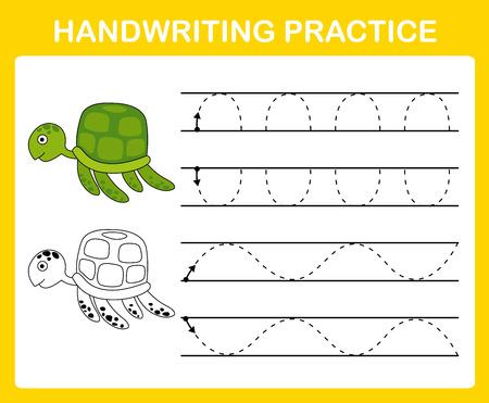 Ilustración de Handwriting practice sheet illustration vector - Imagen libre de derechos