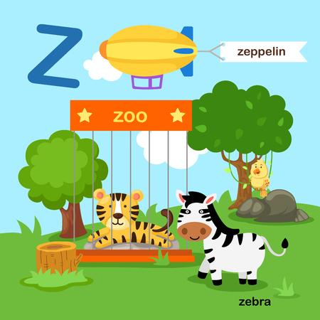Illustration pour Illustration Isolated Alphabet Letter Z-zoo,zeppelin,zebra.vector - image libre de droit