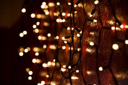 Photo pour Christmas lights over dark background - image libre de droit