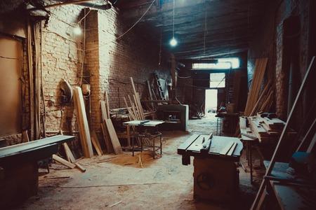 Photo pour Craft Carpentry Workshop. Soft focus. Shallow DOF. - image libre de droit