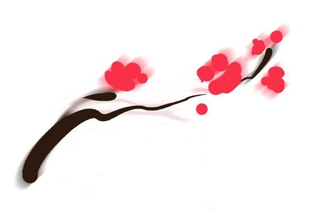 sumi-e of asian plum tree blossom minimal