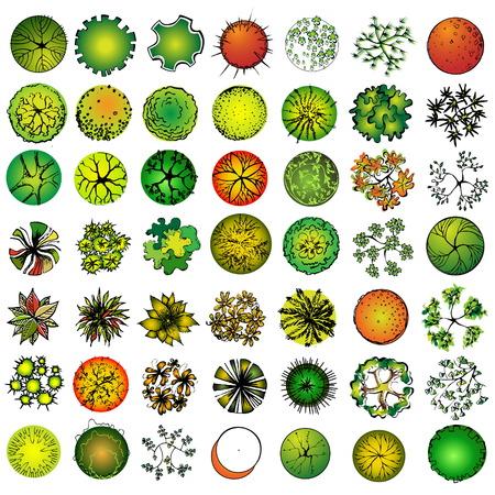Ilustración de A set of treetop symbols, for architectural or landscape design  - Imagen libre de derechos