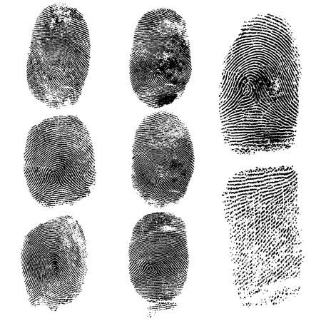 Illustration pour Set of fingerprints, vector illustration isolated on white - image libre de droit