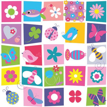 Illustration pour birds bees ladybugs butterflies fish and flowers pattern  - image libre de droit
