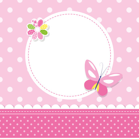 Photo pour pink butterfly baby girl greeting card - image libre de droit