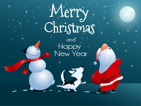 Illustration for Singing Santa Claus, dog and snowman.  Christmas greeting card illustration. - Royalty Free Image