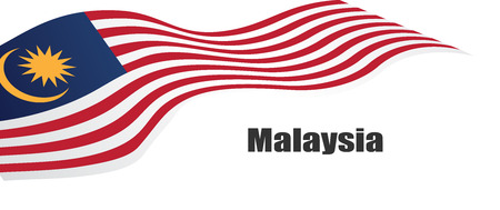 Illustration pour Vector illustration malaysia flag with Malaysia  text. - image libre de droit