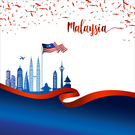 Illustration pour Malaysia brochure cover vector, independence day. Malaysia National Day.  graphic for design element - image libre de droit