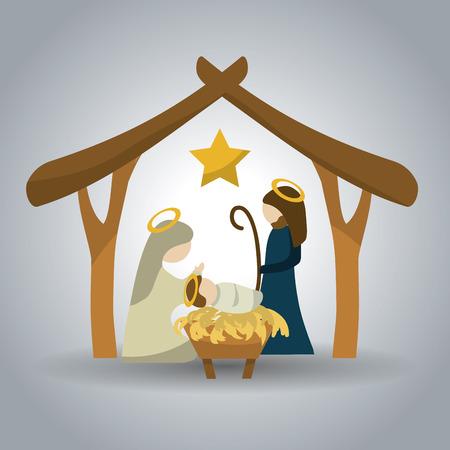 Illustration pour Merry Christmas concept with holy family design, vector illustration 10 eps graphic. - image libre de droit