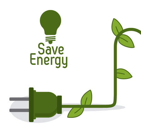Ilustración de Save energy concept with eco icons design, vector illustration 10 eps graphic. - Imagen libre de derechos