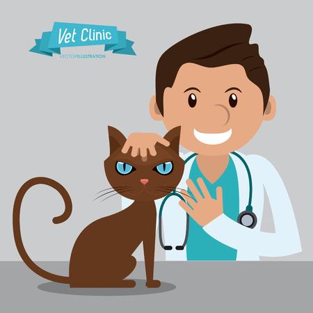 Illustration pour man cartoon cat stethoscope veterinarian pet clinic icon, vector illustration - image libre de droit